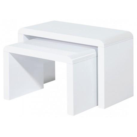 2 Tables Basses Blanches Gigognes Panneaux Epais