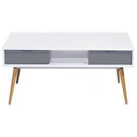 Table Basse Blanc Gris 4 Tiroirs 4 Pieds