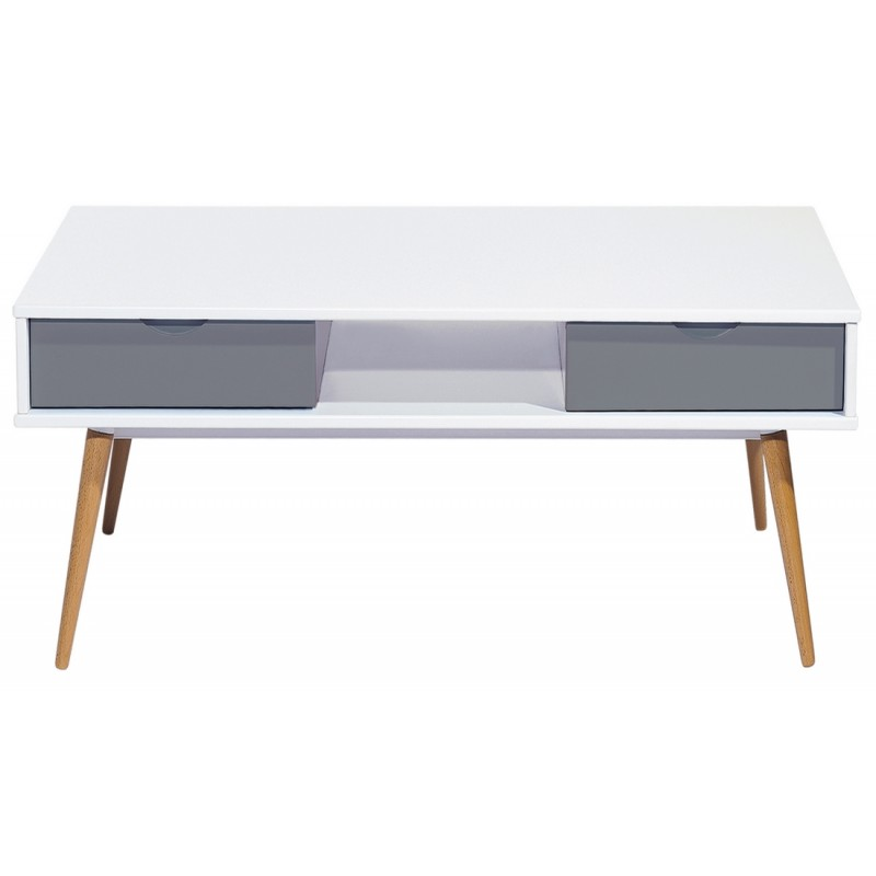 Table basse blanc gris 4 tiroirs 4 pieds ch ne vintage for Table basse scandinave gris et blanc