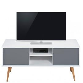 Meuble TV Blanc Gris 2 Portes 4 Pieds