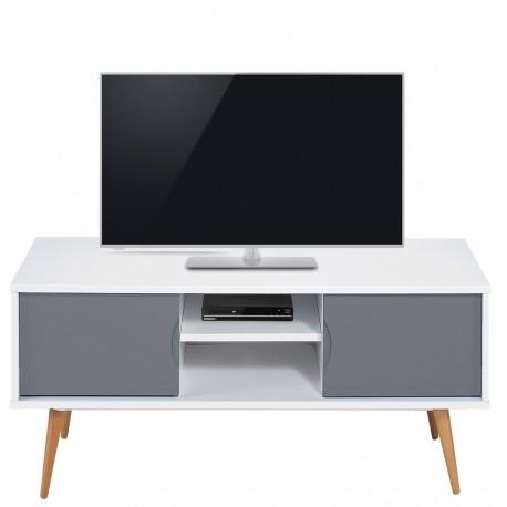 Meuble Tv Blanc Gris 2 Portes 4 Pieds Chêne Vintage