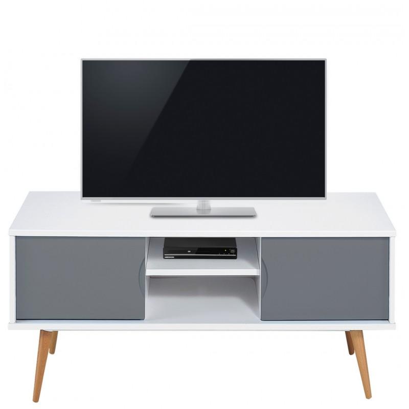 Meuble tv blanc gris 2 portes 4 pieds ch ne vintage for Meuble tv blanc gris