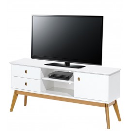 Meuble TV Blanc 150 cm  2T 1P