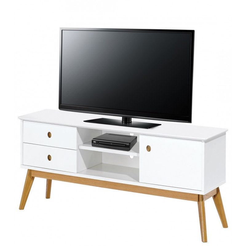 Meuble tv blanc 1 porte 2 tiroirs 4 pieds ch ne vintage for Meuble 2 porte 1 tiroir