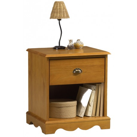 Chevet 1 tiroir 1 niche style anglais pin miel 38101