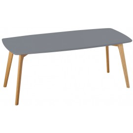 Table Basse Grise 4 Pieds Chêne Massif