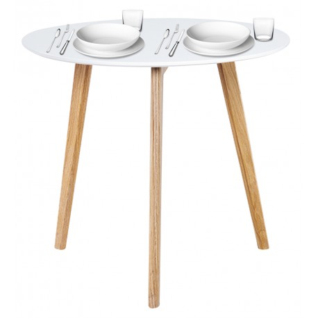 Table Repas Ronde Blanche 3 Pieds Chêne