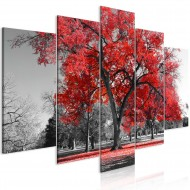Tableau  Autumn in the Park (5 Parts) Wide Red