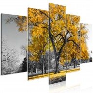 Tableau  Autumn in the Park (5 Parts) Wide Gold
