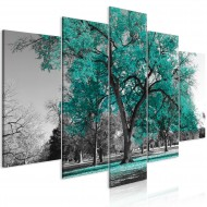 Tableau  Autumn in the Park (5 Parts) Wide Turquoise