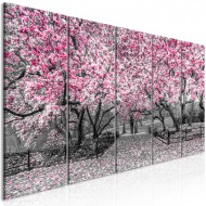 Tableau  Magnolia Park (5 Parts) Narrow Pink