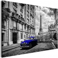 Tableau  Car in Paris (1 Part) Blue Wide
