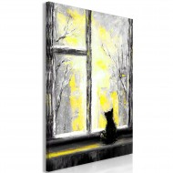 Tableau  Longing Kitty (1 Part) Vertical Yellow