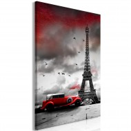 Tableau  Red Car in Paris (1 Part) Vertical
