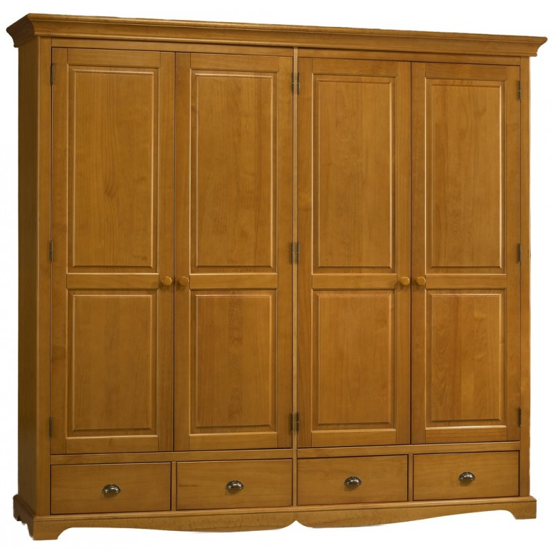 grande armoire penderie pin miel de style anglais beaux meubles pas chers. Black Bedroom Furniture Sets. Home Design Ideas