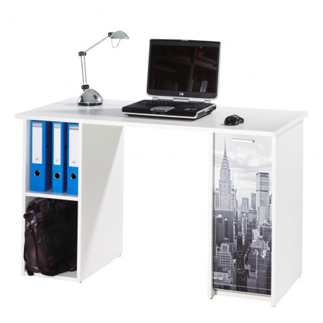 Bureau 120 cm 2 caissons blanc new york beaux meubles - Meuble new york pas cher ...