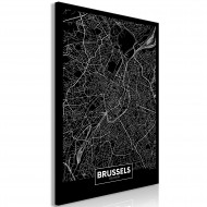 Tableau  Dark Map of Brussels (1 Part) Vertical
