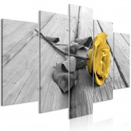 Tableau  Rose on Wood (5 Parts) Wide Yellow