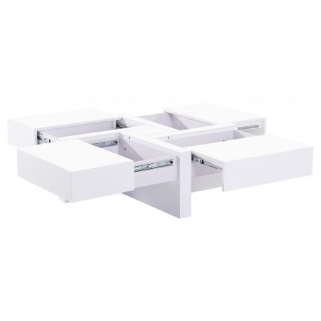 Table Basse Carrée Design 4 Rangements Toute Blanche