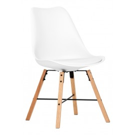 2 Chaises Coque Blanche Pieds Chêne