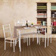 Table Repas et 4 Chaises Chêne et Blanc Amandine