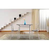 1 Table Ovale et 2 Chaises Bistrot Hêtre et Argent