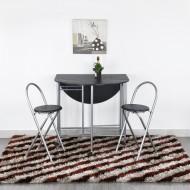 Table Repas Ovale et 4 Chaises  Wenge Gain de Place Sur roulettes