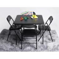 Table Repas et 4 Chaises Pliantes Noires
