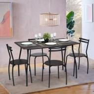 Table Repas 120 x 80 et 4 Chaises Gris Anthracite Wengé