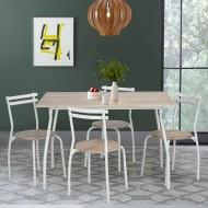 Table Repas 120 x 80 et 4 Chaises Chêne et Blanc