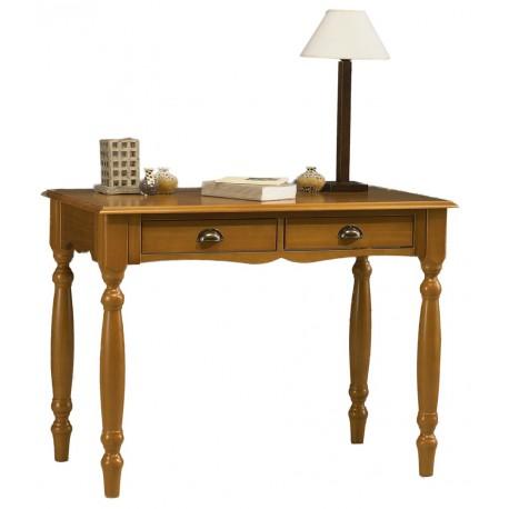Table à écrire style anglais pin miel 2 tiroirs 38150