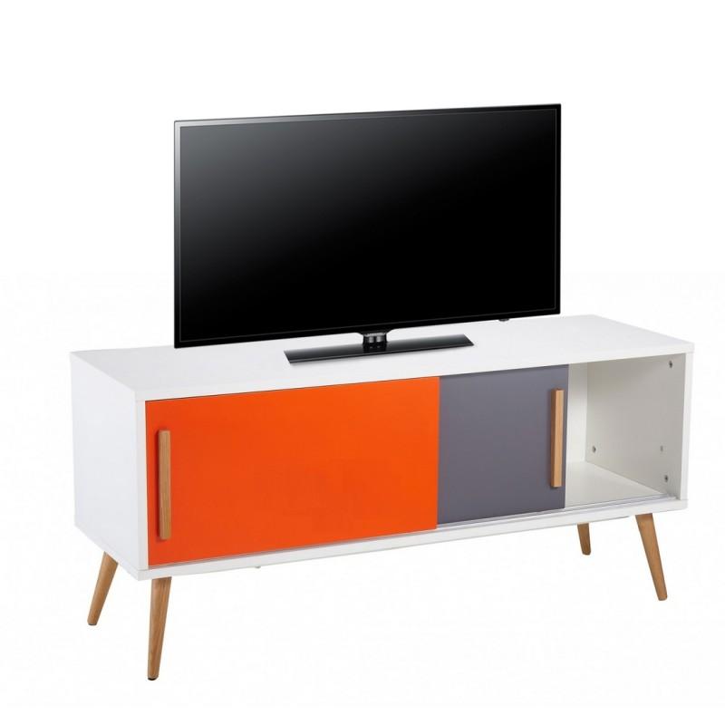 Meuble tv blanc vintage orange et gris for Meuble tv blanc et gris