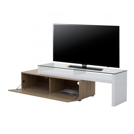 Meuble TV Blanc et Chêne Modulable Panneaux épais