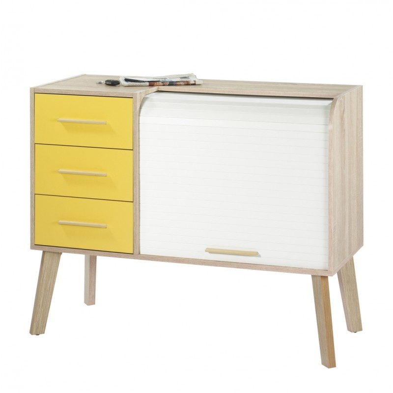 Meuble d 39 entr e ch ne 3 tiroirs jaunes beaux meubles pas chers - Les trois suisses meubles ...