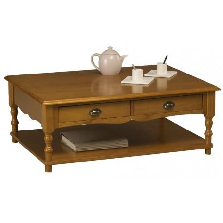 Table basse 100 x 70 style anglais pin miel 2 tiroirs 38300