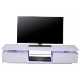 Meuble TV Blanc 2 Tiroirs Eclairage LED Bleu