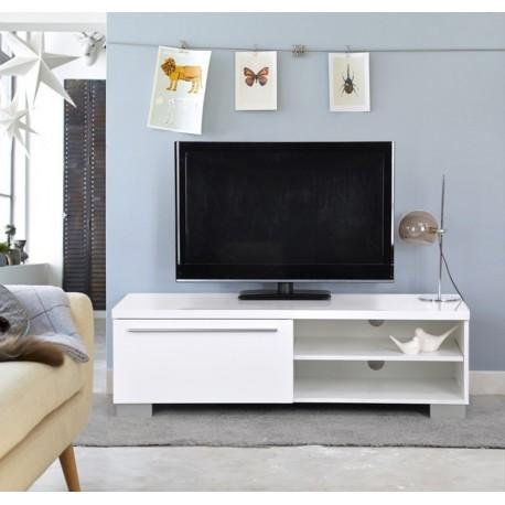 Meuble TV Blanc Alban 1 Tiroir 2 Niches