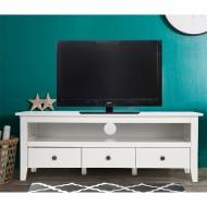 Meuble TV Blanc 3 Tiroirs 1 Niche 136 cm