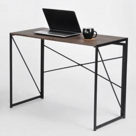 Table Bureau Pliable Pieds Métal Noyer