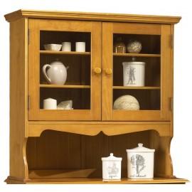 Haut de vaisselier pin massif miel style anglais 38812