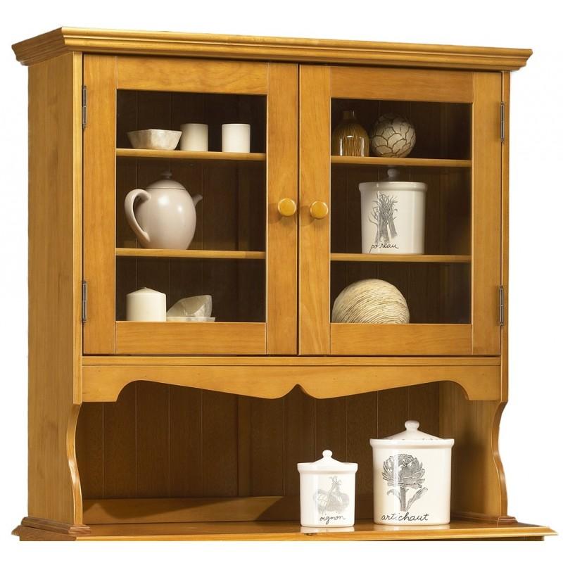Haut de vaisselier pin massif miel style anglais 38812 for Meuble cuisine pin massif