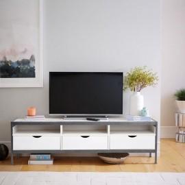Meuble TV Blanc 3 Tiroirs 3 Niches 140 cm