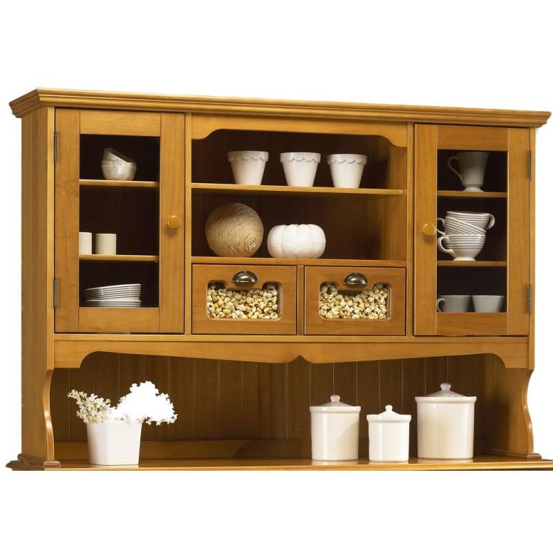 vaisselier haut pin massif 2 portes 2 tiroirs beaux meubles pas chers. Black Bedroom Furniture Sets. Home Design Ideas