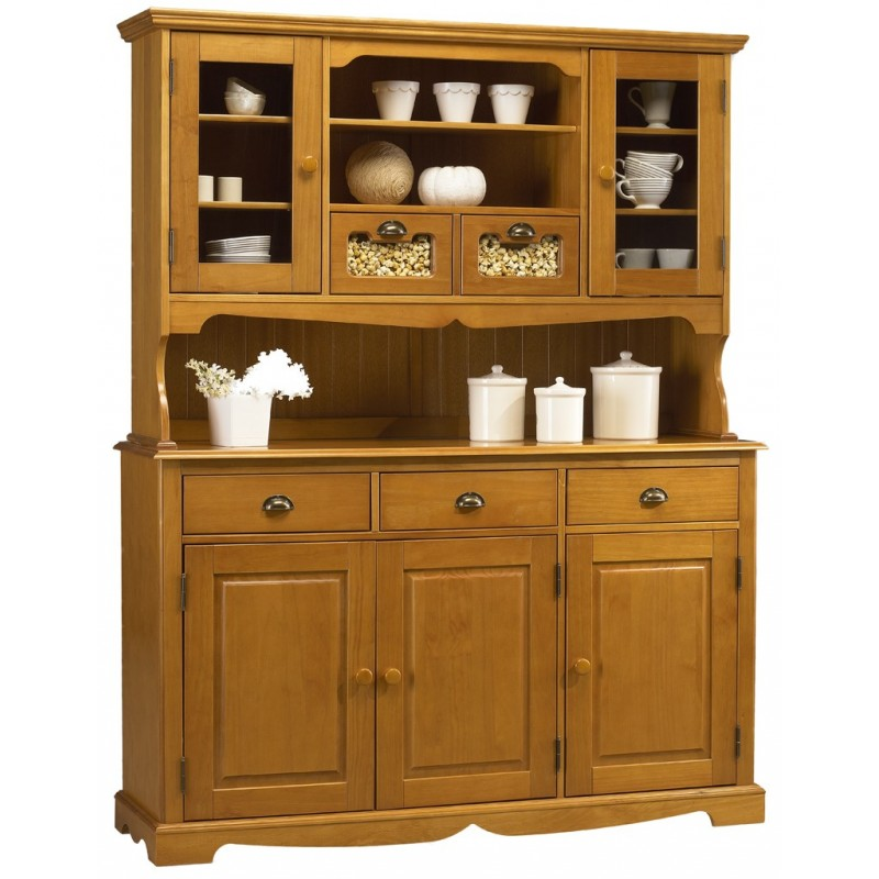 Buffet vaisselier pin miel 5 portes 5 tiroirs de style - Meuble anglais pas cher ...