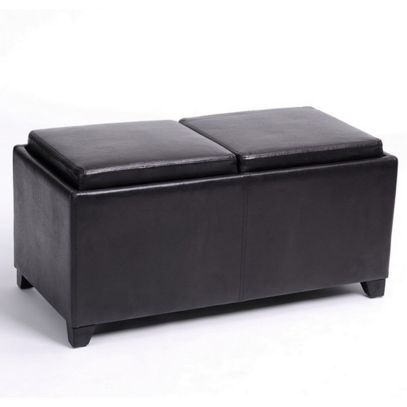 Banc coffre 2 plateaux chocolat beaux meubles pas chers - Banc coffre salle de bain ...