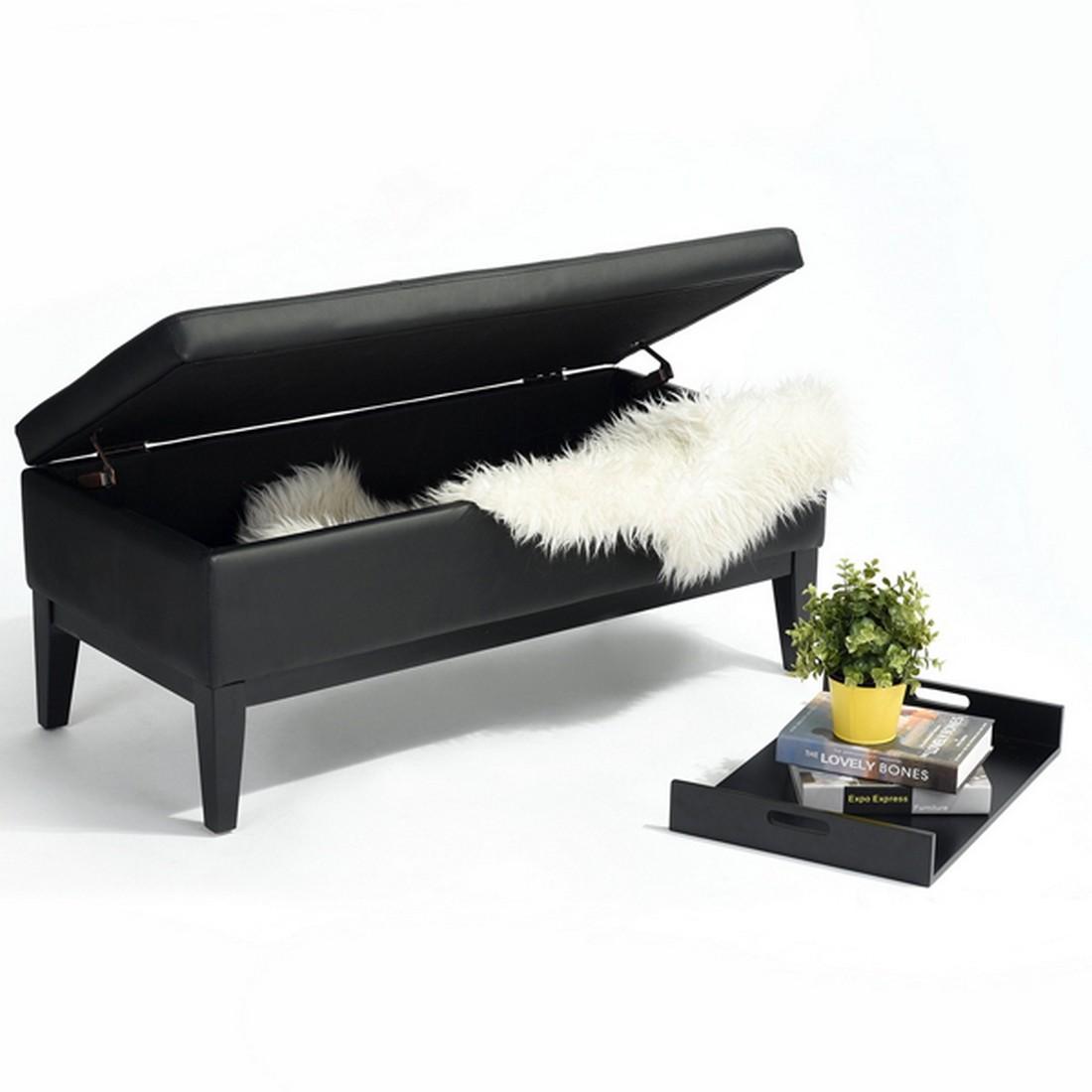 banc coffre noir 1 plateau - beaux meubles pas chers