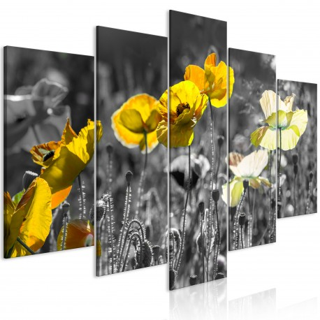 Tableau  Yellow Poppies (5 Parts) Wide