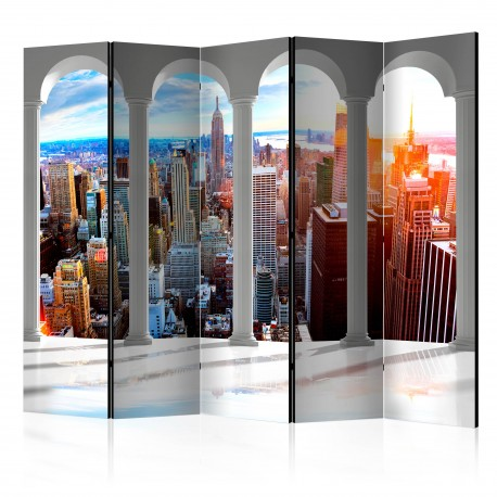 Paravent 5 volets  Pillars and New York II [Room Dividers]