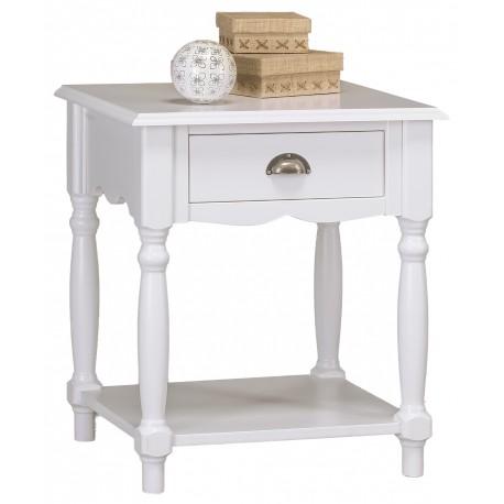 Chevet 1 tiroir pieds tournés style anglais blanc