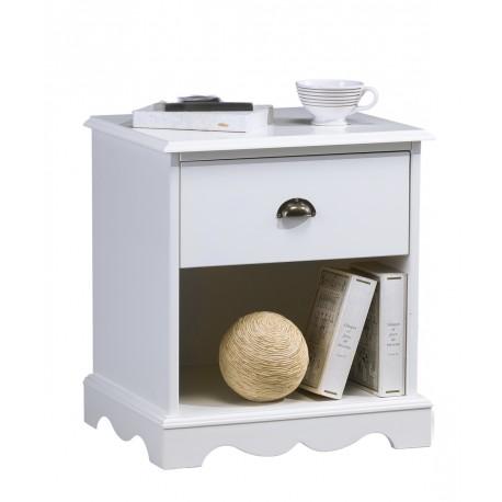 Chevet 1 tiroir 1 niche blanc